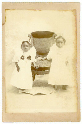 2 ADORABLE AFRICAN AMERICAN BLACK CHILDREN IN DRESSES 1880s CABINET CARD PHOTO