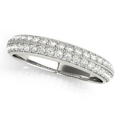 3/8 ct tw 14kt Gold Pave Diamond Wedding Band with F Color VS Clarity Diamonds