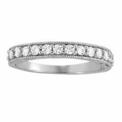 3/8 ct tw 14kt Gold Prong Set Diamond Wedding Band with F Color VS Clarity Diamo