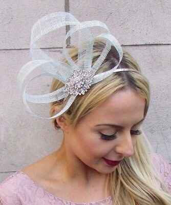 Duck Egg Pale Light Blue Silver Diamante Sinamay Fascinator Races Headband 4477