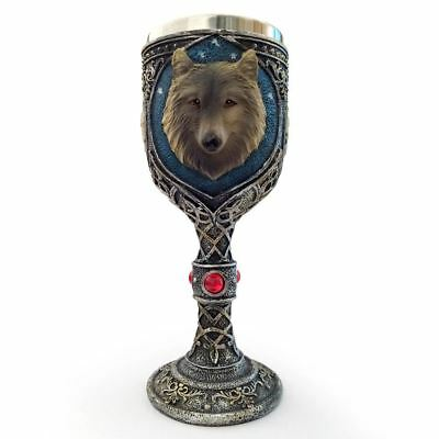 Collectible 3D Wolf Goblet Stainless Steel Medieval Wine Goblet Gothic Goblet