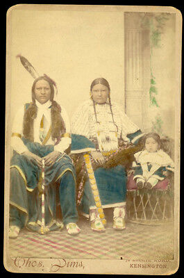 Native American Indians In England Hand Colored Delegation Antique Cabinet Photo