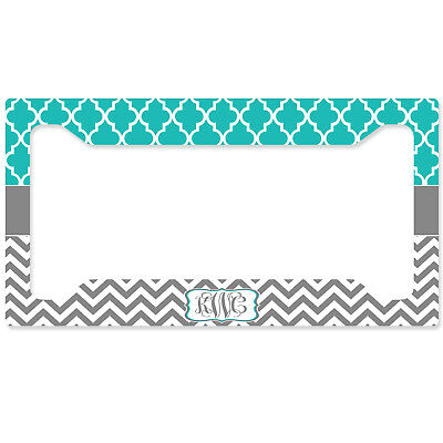 PERSONALIZED MONOGRAMMED LICENSE Plate Frame Rear Teal Lattice ...