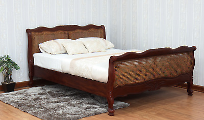 Solid Mahogany French Louis Cane Bed with Rattan Headboard & Footboard New B007