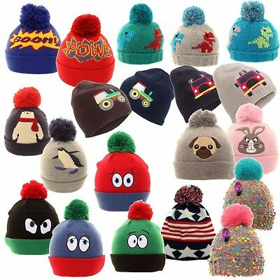 Kids Winter Hat Boys Girls Children Ski Thick Knitted Warm Wooly Pom Bobble Cute