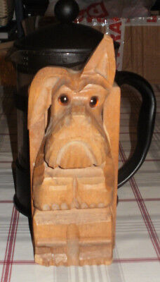 Art Deco Wooden Scotty Dog Wall Pocket Wood Storage Box Holder Vintage 30s/40s