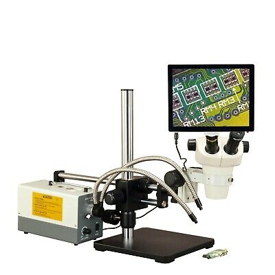 OMAX 3X-300X 5MP Touchscreen Ball-Bearing Boom Zoom Stereo Microscope 150W Light