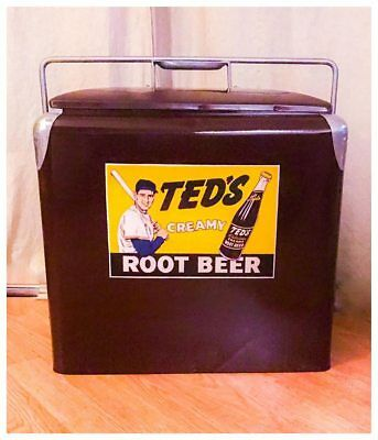 RARE Vintage Ted Williams Ted's Root Beer Metal Cooler SODA COLA GAS OIL BASEBAL