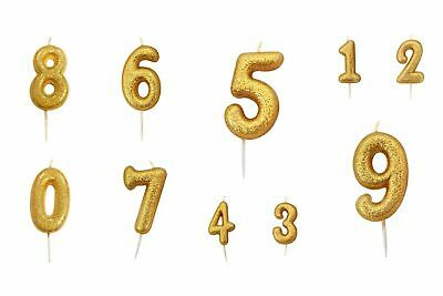 """7cm (2.7"""") Glitter Number Candles Gold Number 0-9  Birthday Party Cake Candle"""
