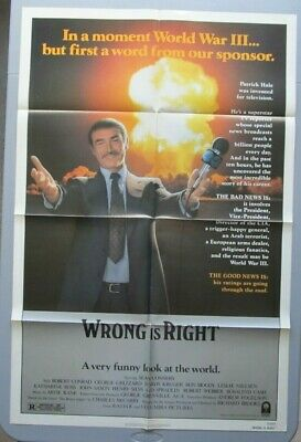 Wrong Is Right Original Folded Mint Movie Poster 1982 Sean Connery 27X41