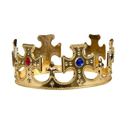 Adult KING or QUEEN Crown Hat Jewels Royal Christmas Fancy Dress Accessory