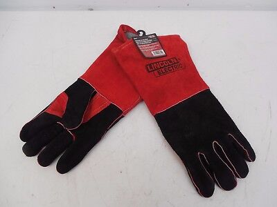 Pair Of Industrial Lincoln Red & Black Leather Protective Welding Gloves
