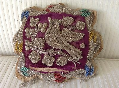 Native American Indian Iroquois Beaded Pillow - Very old