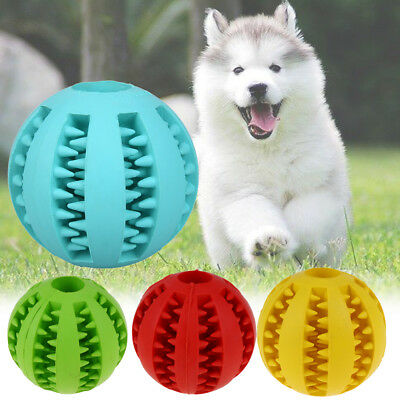 Rubber Ball Chew Treat Dispensing Holder Pet Dog Puppy Cat Toy Training Dental L