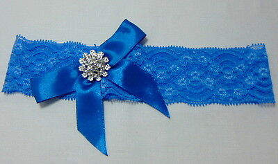 Azure Blue lace stretch Bridal Wedding Garter