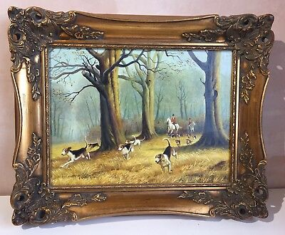 Antique Early 20th Century Oil On Board Of Hunting Dog Scene Signed