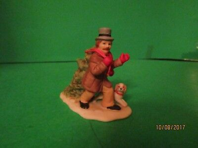 1989 Lefton Colonial Village Man With Dog With Christmas Tree Figurine 07326