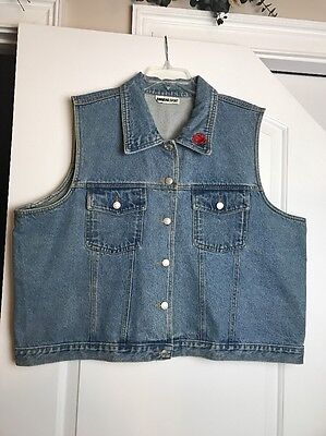Ariana Sport Vintage Womens Denim Vest Rose Floral Embroidery 2XL Blues Buttons