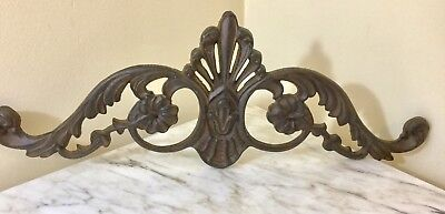 French Country Cast Iron Door Topper Plaque Pediment