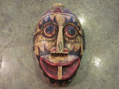 """Unusual Hand Carved Wood Cultural African Tribal Mask Wall Mount 12"""""""