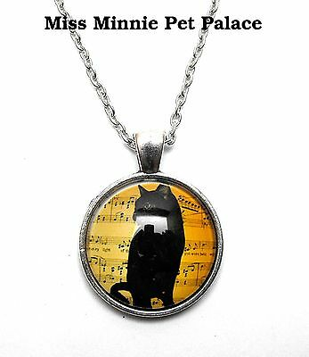 Black Cat with Sheet Music Background ~ Cabochon Necklace & Pendant