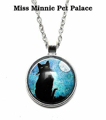 Sitting Black Cat Under a Full Moon ~ Cabochon Necklace & Pendant