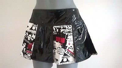 Black Pvc Punk Rock Goth Red White Graffiti Mini Skirt 10 - 12