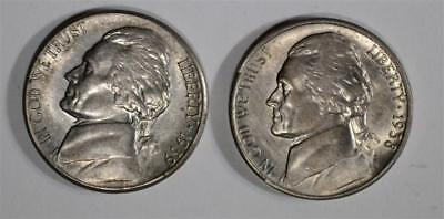 1938-S & 1939-S JEFFERSON NICKELS, CH BU Lot 155