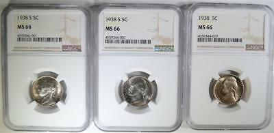 (2) 1938-S& (1) 1938 JEFFERSON NICKELS, NGC MS66 Lot 32