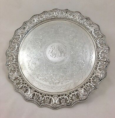Martin, Hall & Co. Sheffield & London Silver Plate Round Tray Platter Dated 1916