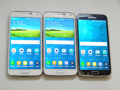 Lot of 3 Samsung Galaxy S5 T-Mobile SM-G900T 16GB Smartphones AS-IS GSM !