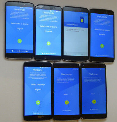 Lot of 7 Alcatel OneTouch Idol 3 6045O Cricket Smartphones AS-IS GSM Cracked