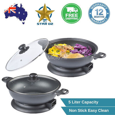 32Cm Electric Frypan Thermostat Control & Non-Stick Stone Coated/Coating Plate z