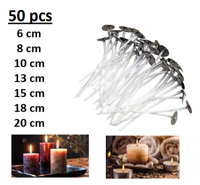 50 pcs Quality Wicks For Candle Making Pre Waxed With Sustainers Home Design