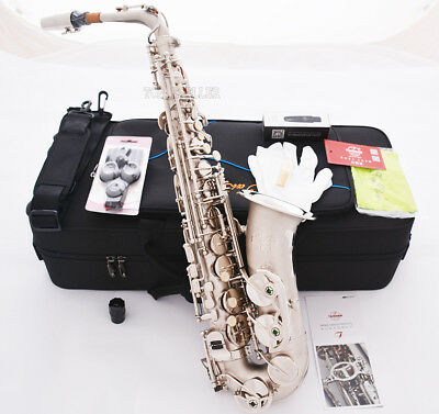 New Professional TaiShan Eb Alto Saxophone Satin nickel sax High F# With Case