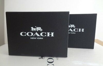LOT OF 2 COACH SMALL Magnetic closure Empty Black Gift BOXES + brown Ribbons