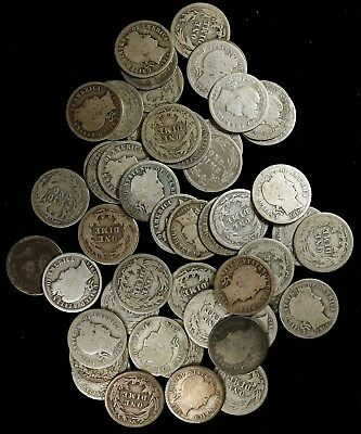 Mixed Date Barber Dime 10C Average Circulated Full Roll 50 Silver Coins