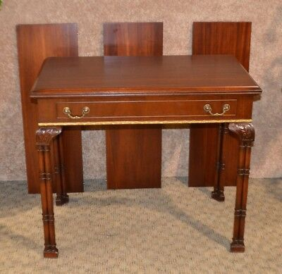Vintage Mahogany Chinese Chippendale Style Flip Top Extension Table w/Leaves