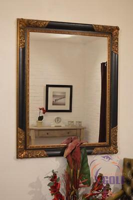 Large Black and Gold Ornate Shabby Chic Big Wall Mirror 4Ft X 3Ft2 122cm X 96cm