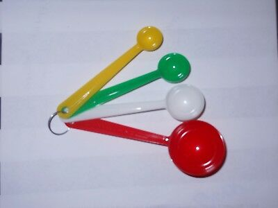Vintage Plastic Colored Measuring Spoons ~ Red, White, Green, Yellow