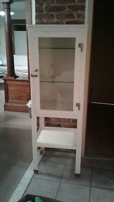 Vintage Metal Glass Doctor Dentist Dental Industrial Apothecary Cabinet