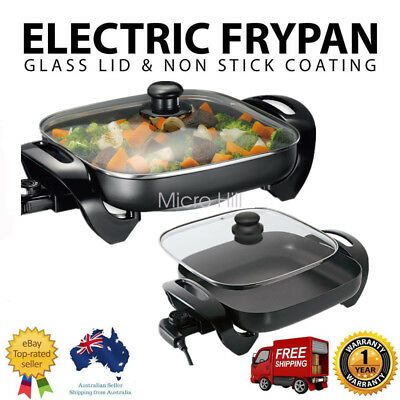 Electric Frypan Adjustable temperature Control Non-Stick Stone Coated Plate 30Cm