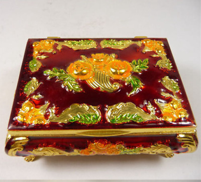 china old handwork copper Tibet-silver jewelry ring boxs paint flowers