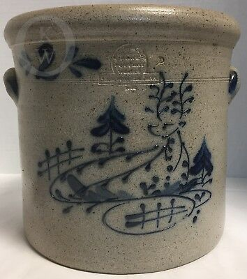 2 Gallon*Rowe Pottery Works* 1986?*Double Pig Ear*Crock* Stag Motif*17310G S206