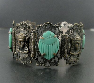 Old Vintage Egyptian Revival Costume Silver over Brass Molded Glass Bracelet