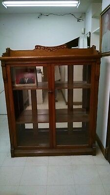 Vintage GLASS FRONT BOOKCASE OAK MISSION STYLE CUPBOARD - Pick In Boston Area