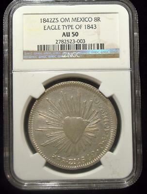 Mexico: Republic. Zacatecas 8 Reales 1842 Zs-OM, AU50 NGC, Eagle type of 1843.