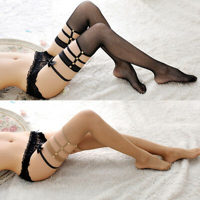US Women Sexy Lace Fishnet Thigh-High Long Socks Stay Up Rivet Lace Stockings