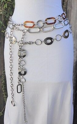 Vtg, Three Silver Tone Metal Geometric & faux. Tortoise Shell Chain Belts