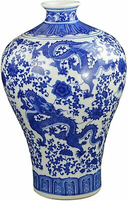 "17"" Classic Blue and White Dragon Porcelain Vase, Prunus (Plum) Vase China Mi..."